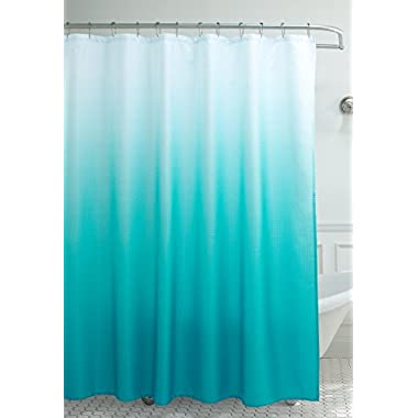 Creative Home Ideas Ombre Waffle Weave Shower Curtain with 12 Color Coordinated Metal Roller Rings, 70  x 72 , Turquoise