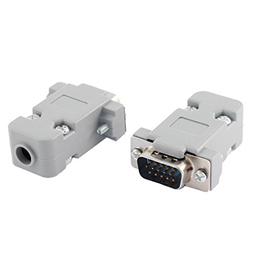 Hood Shell D-SUB DB15 15-Pin Male Solder Wire End VGA Connector 2pcs (Vga Connector Solder)