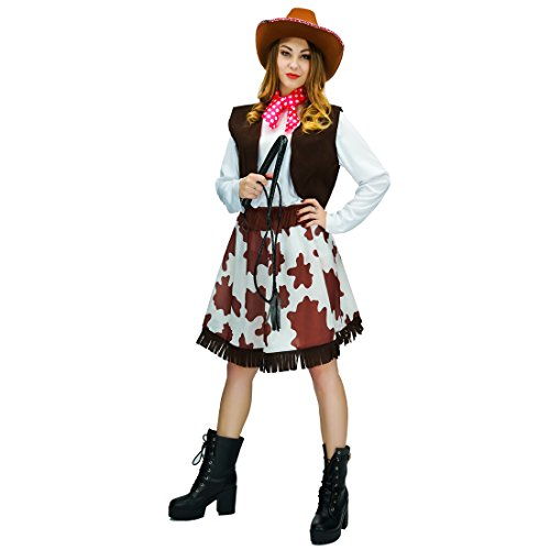 (flatwhite Adult Women Cowgirl Costumes,Coffee,white,red,One)