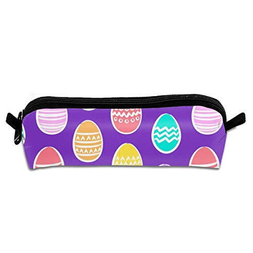 - Pencil Case (Small Scale) Easter Eggs - Brights On Purple_203 Unisex Student Zipper Polyester Pen Box Stationery Bag Lightweight Storage Bags