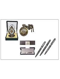 Masonic Pocket Watch Brass Finish & Masonic Engraved Ballpoint Pen (Free Masonic Key Chain included)
