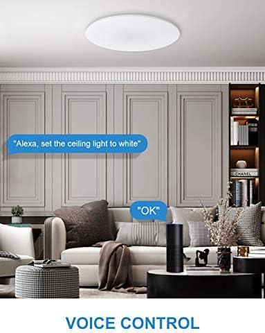 Alexa LED Deckenleuchte Dimmbar, Maxcio 24W Smart Wohnzimmerlampe RGBW Farbwechsel, WiFi IP54 Deckenlampe für Kinderzimmer Schlafzimmer Badezimmer, Kompatibel mit Alexa&Google Home, Smart Home Zubehör