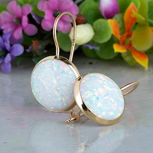 14K Gold White Opal Large Drop Earrings - 14K Solid Yellow Gold October Birthstone Dangle Earrings, 12mm Large Opal Gemstone, Bridal Wedding Jewelry for Brides, Dainty Handmade Gift for Classy Women