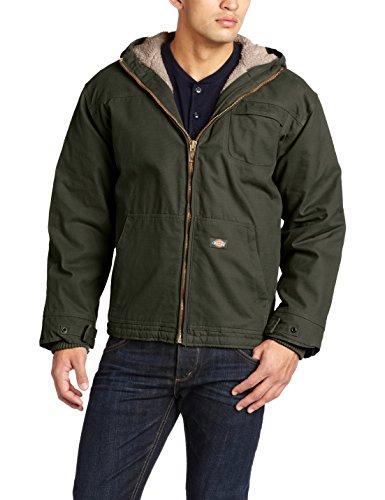 Dickies Men's Sanded Duck Sherpa Lined Hooded Jacket, Black Olive, Medium/Regular by Dickies