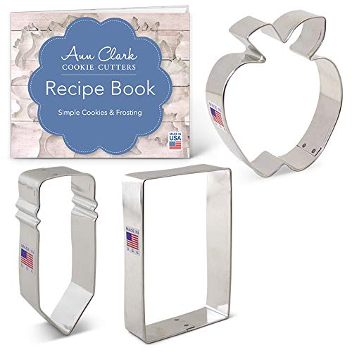 Back To School Cookie Cutter Set with Recipe Booklet - 3 piece - Apple, Pencil & Paper - Ann Clark - USA Made Steel