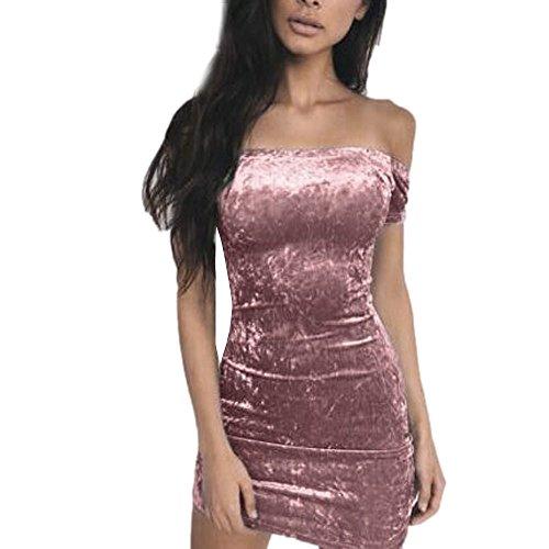 para Sonnena terciopelo de rosa la vestido de de de marca Vestido fiesta corto caídos noche hombros IUUC6qw