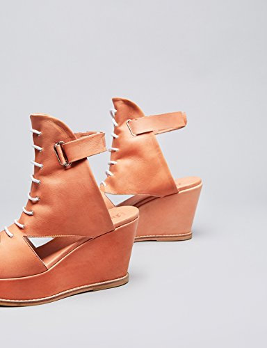 FIND Women's Sandals in Leather Lace up with Wedge Heel Brown (Nude) n8RkbQNSl