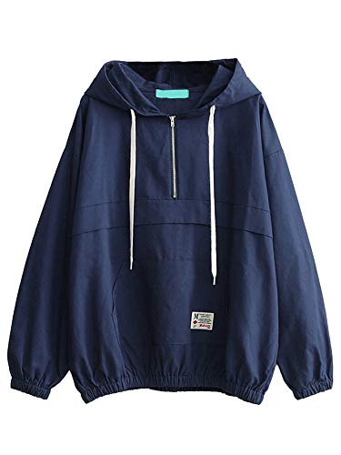 Sport Anorak - Romwe Women's Lightweight Kangaroo Pocket Anorak Sports Jacket Drawstring Hooded Zip up Windproof Windbreaker Navy XL