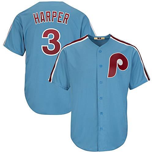 Men's Philadelphia Phillies Bryce Harper Light Blue Cool Base Cooperstown Player Jersey
