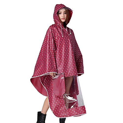 Imperméable À Fashion Voyage Capuche Camping L'eau Rouge Fille Classique Poncho Vélo Laisla Randonnée Moto Avec De Des Pois Femmes Motif Pluie S45qqyfWp