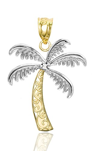 Honolulu Jewelry Company 14K Yellow Gold with Diamond Palm Tree Necklace Pendant ()