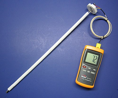 Very High Temperature K-type Thermometer with Ceramic Insulated Probe Sensor for Kiln, Crucible and Forge up to 2372 °F 1300 °C Model CR-8