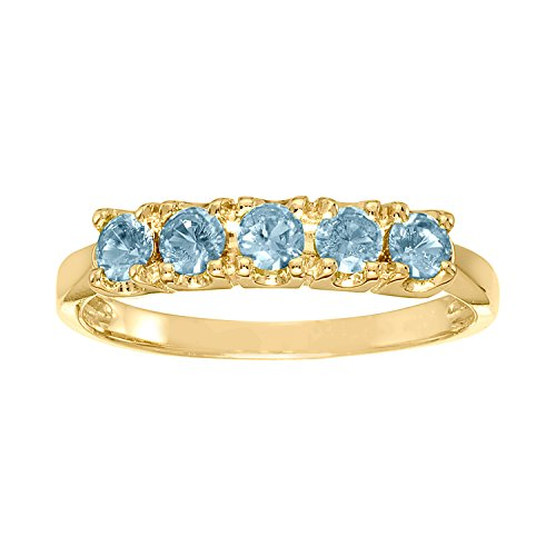 ArtCarved Sweet Moment Simulated Blue Zircon December Birthstone Ring, 10K Yellow Gold, Size 7