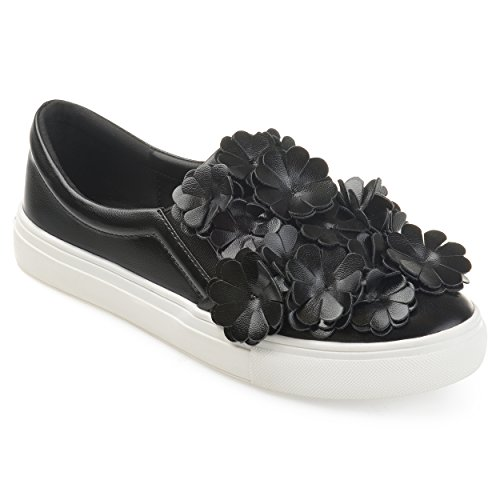 Journee Collection Womens Cascading 3D Flowers Faux Leather Slip-on Sneakers Black X7J5D8iMv