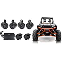 4 Kicker 6.5 Rollbar Speakers+4-Channel Amplifier For Polaris/ATV/UTV/RZR/CART