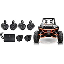 "4) Kicker 6.5"" Rollbar Speakers+4-Channel Amplifier For Polaris/ATV/UTV/RZR/CART"