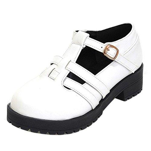 TAOFFEN Women's Gladiator Low Heel Shoes White zAJ2jPnZ