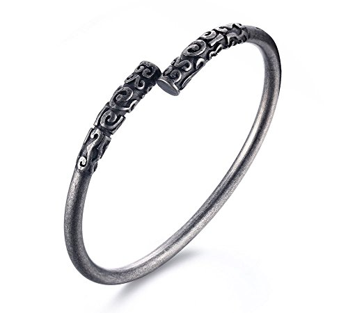 VNOX Mens Stainless Steel Ancient Buddhist Black Plated Narrow Open Cuff Bangle Bracelet