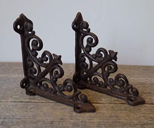 """2 Antique Style Shelf Brace Wall Bracket Cast Iron Brackets Small 3 7/8"""" X 3 7/8"""""""