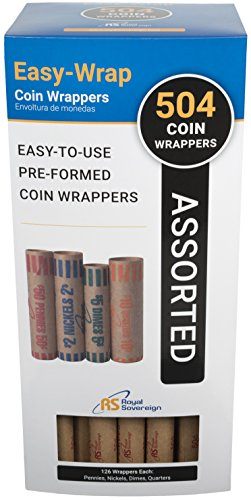 (Royal Sovereign Preformed Coin Wrappers. 504 Assortment Pack, Penny, Nickel, Dime, and Quarter Coin Wrappers (FSW-504A))