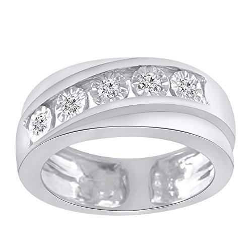 - Trillion Jewels 0.25 CT Round Cut Natural Diamond 10K White Gold Finish Mens Engagement Ring (10)