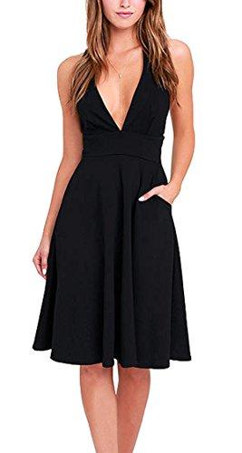 Hibluco Women's Deep V-neck Sleeveless A-line Dress Sexy Party Dresses with Pockets (X-Large, Black)