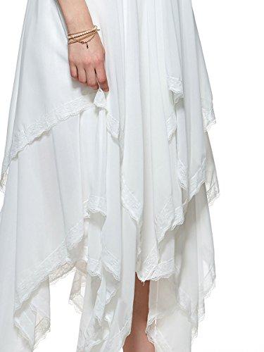 CLOCOLOR Vestido largo A-line cóctel para mujer vestido con falda irregular asimétrico color blanco sin mangas vestido de negocios vestido casual de moda
