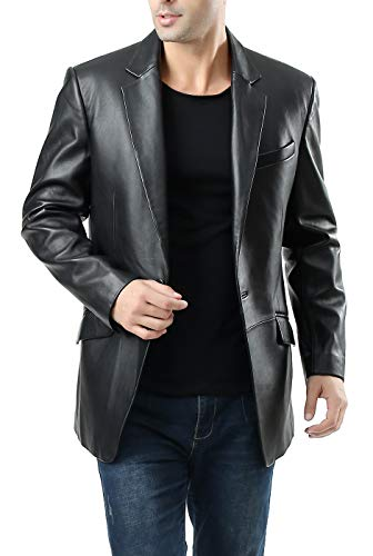 BGSD Men's John 1-Button Lambskin Leather Blazer,Black,XX-Large