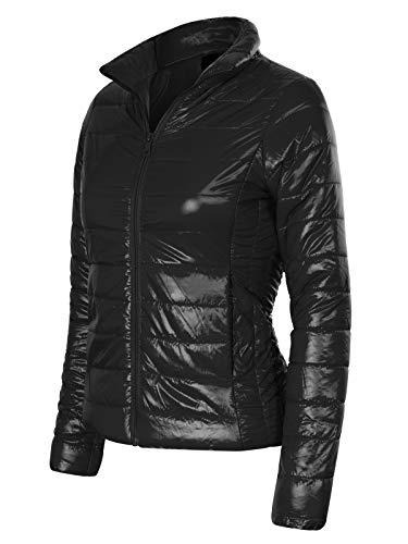 (Instar Mode Women's Lightweight Short Packable Down Quilted Puffer Jacket (S-3X) Black S)