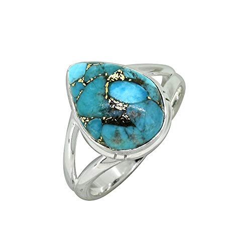 YoTreasure Blue Turquoise Solid 925 Sterling Silver Teardrop Ring (Gemstone Ring Teardrop)