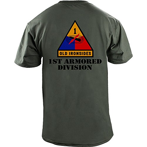Army 1st Armored Division Full Color Veteran T-Shirt (XL, Green) (5th Armored Division Battle Of The Bulge)