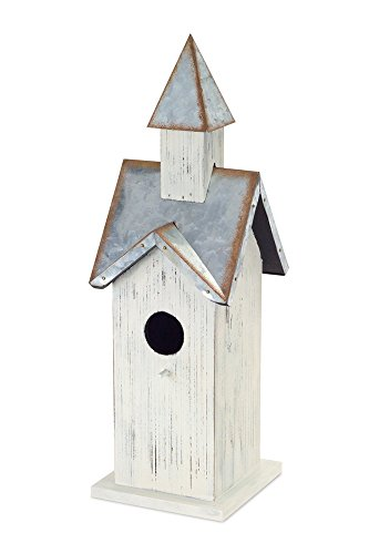 Church White and Galvanized Grey 15 x 5 MDF and Metal Harvest Bird House