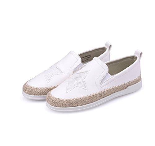Signore Estive Pelle Scarpe Pigri Pattini Di Pantofole Moda Bianco Casual Studente Scarpe In FA4YqxwEq