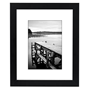 Americanflat 8×10 Black Picture Frame with Shatter-Resistant Glass – Displays 5×7 Photos with Mat and 8×10 Without Mat