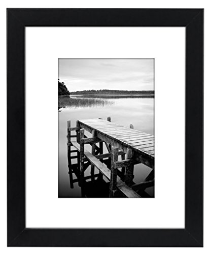 Americanflat 8x10 Black Picture Frame | Displays 5x7 photos with Mat and 8x10 Without Mat. Shatter-Resistant Glass. Hanging Hardware Included! - Design: Black 8x10 inch picture frame, perfect for your cherished memories, family portrait and vacation photos; frame includes a white beveled mat that draws attention to the frame and makes your photo stand out; comes with hanging hardware for hassle-free display in both horizontal and vertical formats to hang flat against the wall; includes an easel stand for tabletop or desktop display Material: Wood frame with a polished glass front that gives a clear view of your picture and preserves your photographs, cards and memories Quality: Durable, gallery-style frame; the frame's front has clear glass and a sturdy backboard to keep the photo in place; load your photos, cards, and memories easily, quickly and securely - picture-frames, bedroom-decor, bedroom - 41Tb6UHhE2L -
