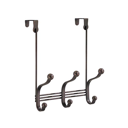 - InterDesign York Metal Over the Door Organizer, 3-Hook Rack for Coats, Hats, Robes, Towels, Bedroom, Closet, and Bathroom, 11.25