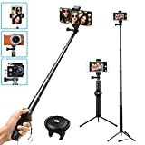 MWAY Selfie Stick 2 In 1 Portable Phone Tripod Camera Stand with Remote Control And Universal Phone Holder, Extendabale Monopod for iPhone X/8/7/6, Galaxy Note 8/S8, Gopros, Mini SLR Camera black