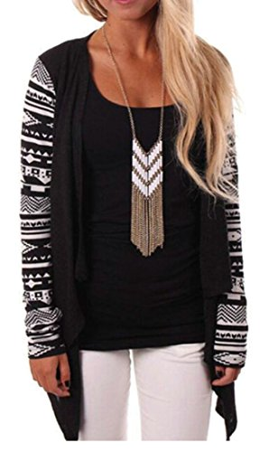 M Women's Long Open Cardigan Printing amp;W Fashion amp;S Sleeve Black Irregular 77wq1Pa
