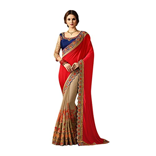 Red & Blue Color Bollywood Saree Sari With Latest Stylish Pattern On Blouse Just Launched Women Wedding Ceremony Party Wear Diwali Festive By Ethnic Emporium 526 by ETHNIC EMPORIUM