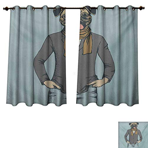 RuppertTextile Pug Blackout Thermal Curtain Panel Abstract Image of a Dog with Human Proportions with Jacket Scarf and Jeans Absurd Patterned Drape for Glass Door Taupe Brown Blue W72 x L45 inch