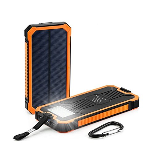 Quslly Solar Chargers, 20000mAh Portable Solar Power Bank High Efficiency Cellphone Chargers Rain-Resistant Dirt/Shockproof Backup with Dual USB Port Solar Battery Charger for USB Devices (Orange)
