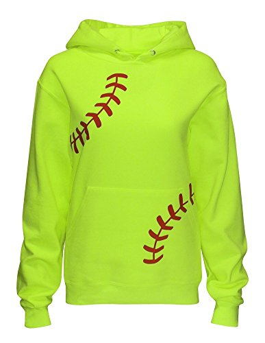 Zone Apparel Women's Softball Hoodie Sweatshirt - Laces X-Large Neon Yellow (Softball Sports Sweatshirt)