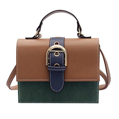 YJYDADA Women Girl Fashion Patchwork Flap Bag Ladies Pretty Crossbody Shoulder Bag (Green)