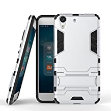 Honor 5A Cover DWaybox 2 in 1 Hybrid Heavy Duty Armor Hard Back Case Cover with kickstand for HUAWEI Y6II / Y6 II / Y6 2 (2016) / Honor Holly 3 / Honor 5A 5.5 Inch (Silver)