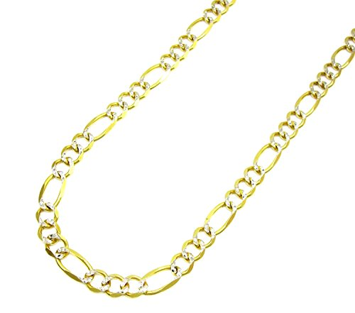 10K Yellow Gold Men's 6.5MM Pave Figaro Bracelet Lobster Clasp, (8) by Jawa Fashion