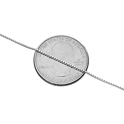 """925 Sterling Silver .8MM Box Chain - Italian Necklace - Super Thin & Strong - FREE Gift w/Order 16"""" - 30"""""""