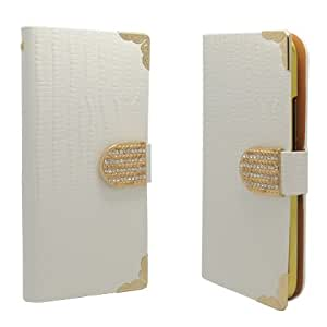 Synthetic Leather White Snake Skin Flip Cover Pouch W/ ID Card Holder For HTC One 2 M8 (Accessorys4Less)