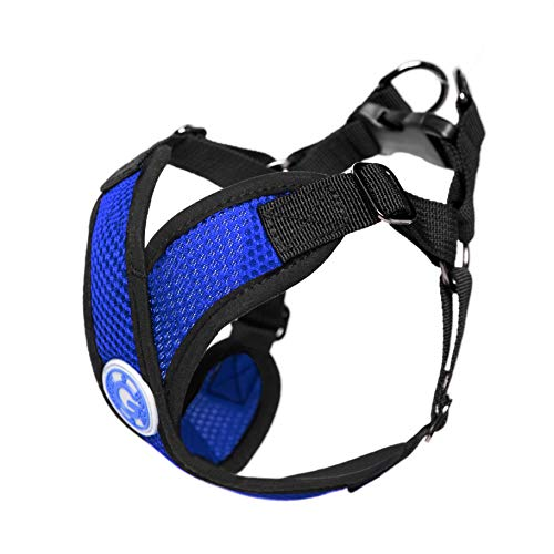 Gooby - Comfort X Step-in Harness, Choke Free Small Dog Harness with Micro Suede Trimming and Patented X Frame, Blue, Medium ()