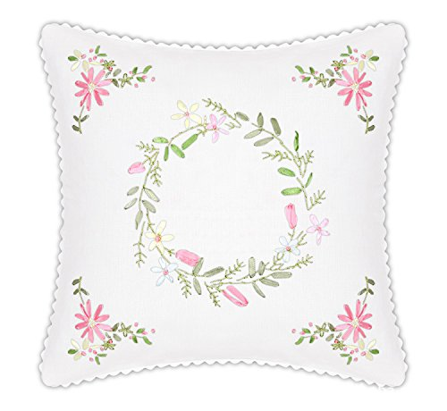 "Throw Pillow Covers, DIY Ribbon Embroidery Kit Pillow Case Handmade, 18"" x 18"", Flower-designs Cotton Linen (Throw Pillow Cover, Floral Hoop)"