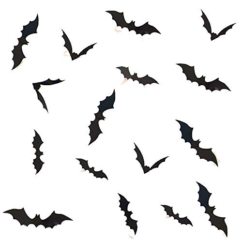 RSSZL Halloween Bat Wall Sticker 60PCS 3D Decorative Bats Party Decor Taste Funny Tiny Pumpkin Lantern Witch Wall Decal Halloween Eve Children's Room Decor (3D Bats)